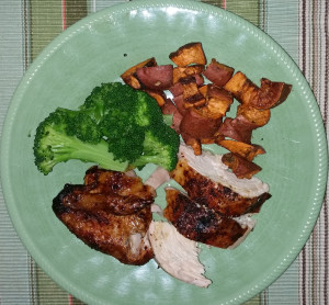 Donna served it with steamed broccoli and fried sweet potato