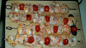 Shrimp skewers hot off the grill