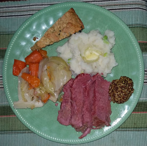 Our Easter corned beef and cabbage plate