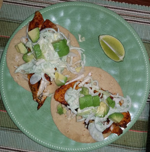 Donna's homemade fish taco plate