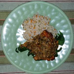 Lemon-butter chicken with jasmine brown rice on the side