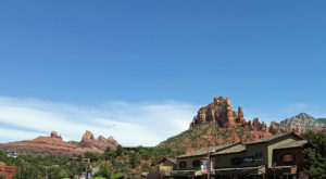 Red rock spires viewed from town