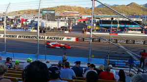 Indycar streaking past at 190mph on the front straight