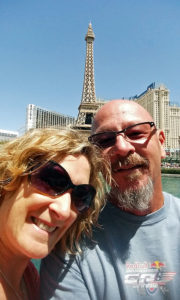 Us at the Fountains of Ballagio - Eiffel Tower reaturant in the background