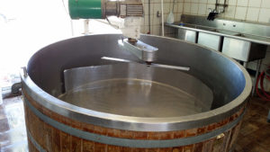 Vat where milk is coagulated