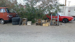 This one was offering his old wooden boxes for sale