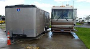 Trailer and coach staggered to allow basement access