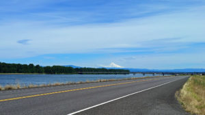 Mt. Hood behind I-205 bridge spanning the Columbia River