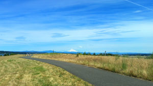 Paved bicycle path along Marine Drive - Mt. Hood in the background