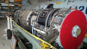 J79 jet engine that powered many US military jets including the F-104 Starfighter behind it