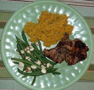 Grilled lamp chops with green beans and Moroccan quinoa