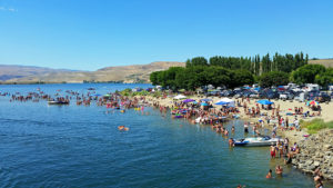 Crowded beach at Crescent Bar Recreation Area