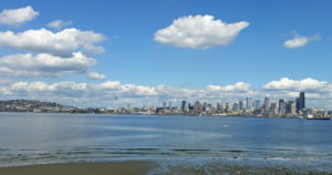 View of the waterfront and downtown Seattle from Alki