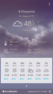 Screenshot of weather conditions on my smartphone at 7:46pm