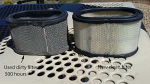 Old and new air filter elements