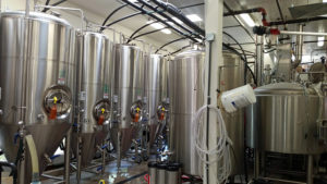 Fermenters on the left, 10 barrel tun on the right