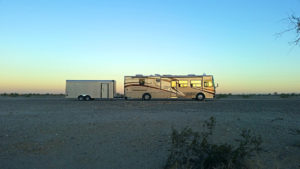 Our rig is dwarfed by the open desert