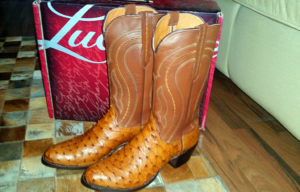 Lucchese full quill ostrich boots with calfskin shafts