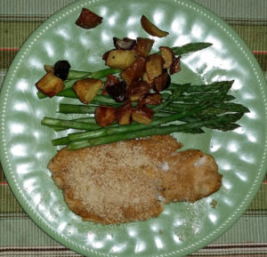 Dijon crusted tilapia with asparagus and potatoes