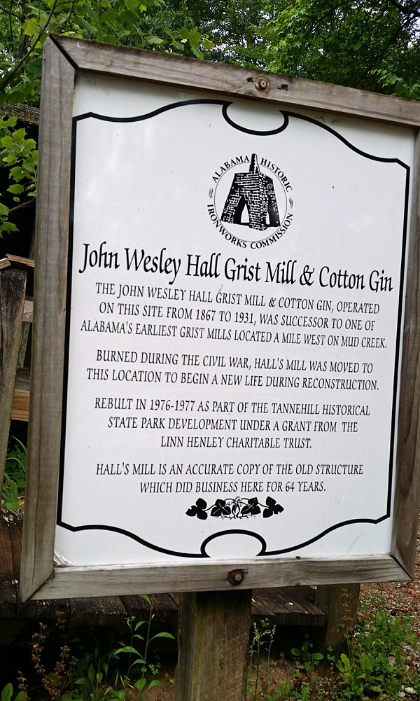 John Wesley Hall mill – note the waterwheel on the left powering the grist  mill