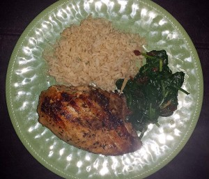 Served with spinach and brown rice