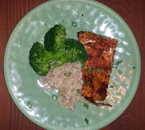 Cedar planked Steelhead served with coconut basmati  rice and steamed broccoli