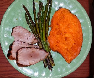 Pork tenderloin, asparagus and sweet potato