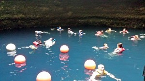 People floating in the Crater pool