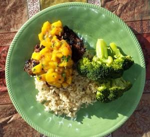 Jamaican jerk chicken with mango salsa