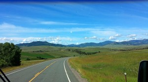 Windshield view as we head toward the Helena National Forest