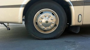 Under-inflated front tire on our neighbor's coach