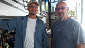 Dave Hobden and me at the Tekris shop.