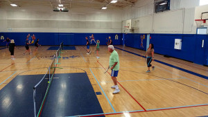 Three pickleball courts at the PB Rec Center