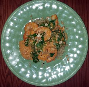 Curry shrimp with peanut sauce