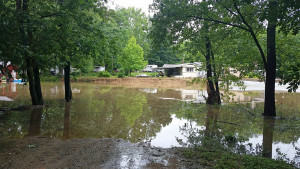 The concrete boat ramp is under water