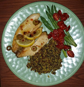 Carmelized tilapia with lemon and green olives