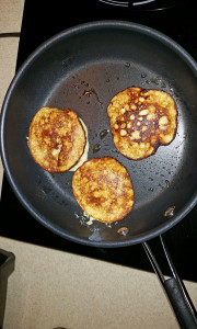 Donna's banana pancakes on the induction cooktop