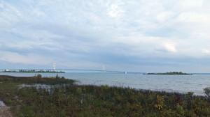 Mackinac bridge (say Mackinaw) a few miles east of us