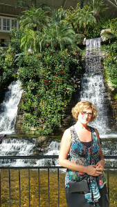Donna in front of a waterfall in the atrium