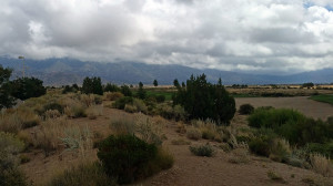Sandia mountains to the east of us socked in