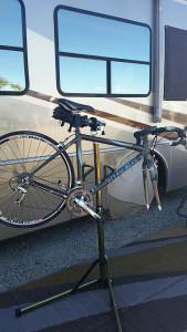 Donna's Trek Madone on the bike stand