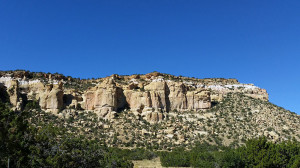 View from roadside lot with trail to rock arch
