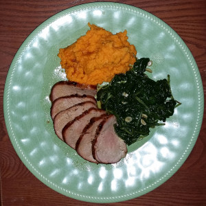 Served with sweet potato mash and sauteed kale