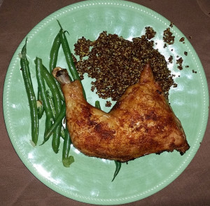 Dry rubbed chicken with Morroccan quinoa and green beans