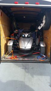 Spyder shoe-horned into the trailer