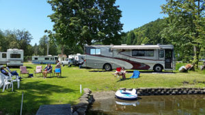 Bob and Jeanne's Alpine Coach on their lakefront property.