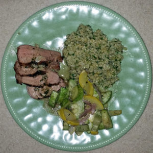 Served with Orzo salad with spinach and feta and sauteed zucchini and red onion
