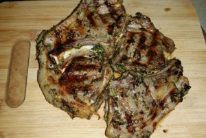Lamb chops with rib bone