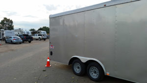 Trailer extends past the rear of the site