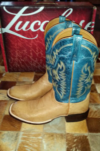 Lucchese smooth-quill uppers with calf-skin shafts
